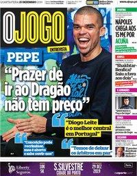 capa Jornal O Jogo de 25 dezembro 2019