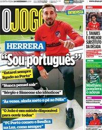 capa Jornal O Jogo de 26 dezembro 2019