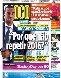 capa Jornal O Jogo de 27 dezembro 2019