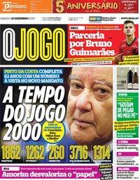 capa Jornal O Jogo de 28 dezembro 2019