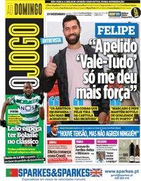 capa Jornal O Jogo de 29 dezembro 2019