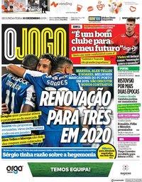 capa Jornal O Jogo de 30 dezembro 2019