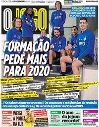 capa Jornal O Jogo de 31 dezembro 2019