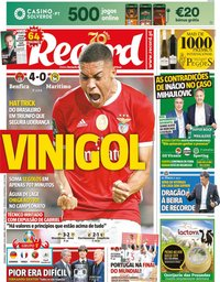 capa Jornal Record de 1 dezembro 2019