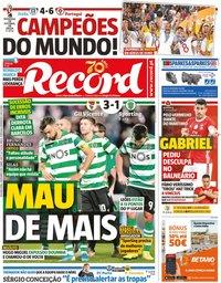 capa Jornal Record de 2 dezembro 2019