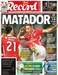 capa Jornal Record de 7 dezembro 2019