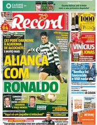 capa Jornal Record de 8 dezembro 2019