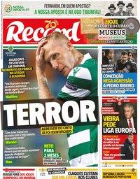 capa Jornal Record de 10 dezembro 2019