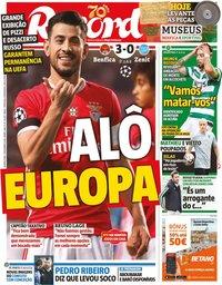 capa Jornal Record de 11 dezembro 2019