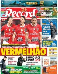 capa Jornal Record de 12 dezembro 2019