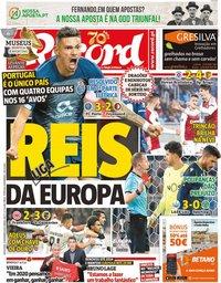 capa Jornal Record de 13 dezembro 2019