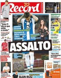 capa Jornal Record de 14 dezembro 2019