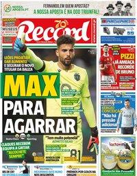 capa Jornal Record de 17 dezembro 2019