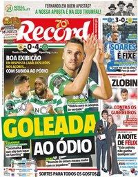 capa Jornal Record de 18 dezembro 2019