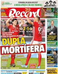 capa Jornal Record de 19 dezembro 2019