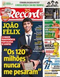 capa Jornal Record de 24 dezembro 2019