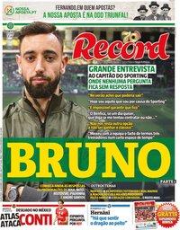 capa Jornal Record de 26 dezembro 2019