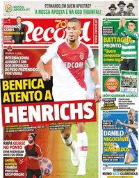capa Jornal Record de 28 dezembro 2019