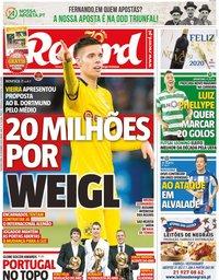 capa Jornal Record de 30 dezembro 2019