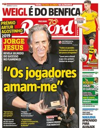 capa Jornal Record de 31 dezembro 2019