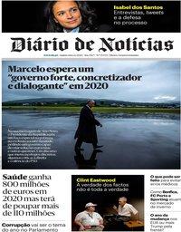 capa Diário de Notícias de 2 janeiro 2020