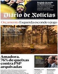 capa Diário de Notícias de 6 janeiro 2020