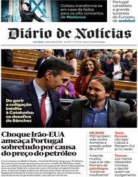 capa Diário de Notícias de 8 janeiro 2020