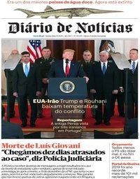 capa Diário de Notícias de 9 janeiro 2020