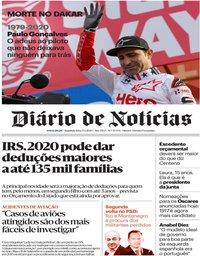 capa Diário de Notícias de 13 janeiro 2020