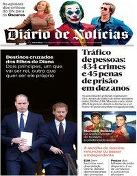 capa Diário de Notícias de 14 janeiro 2020