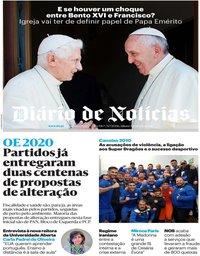 capa Diário de Notícias de 15 janeiro 2020