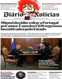 capa Diário de Notícias de 16 janeiro 2020