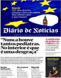 capa Diário de Notícias de 31 janeiro 2020