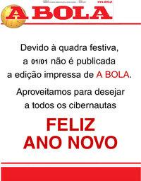 capa Jornal A Bola de 1 janeiro 2020