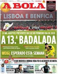 capa Jornal A Bola de 2 janeiro 2020