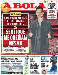 capa Jornal A Bola de 3 janeiro 2020