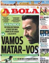 capa Jornal A Bola de 7 janeiro 2020