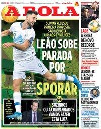 capa Jornal A Bola de 9 janeiro 2020