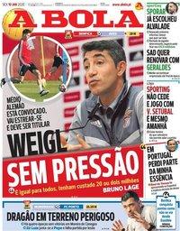 capa Jornal A Bola de 10 janeiro 2020