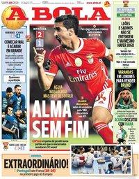 capa Jornal A Bola de 11 janeiro 2020