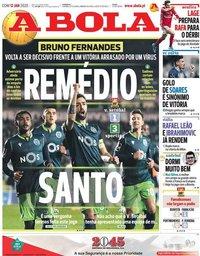 capa Jornal A Bola de 12 janeiro 2020