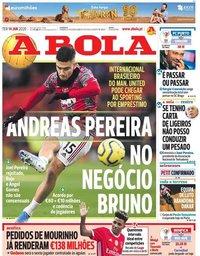 capa Jornal A Bola de 14 janeiro 2020