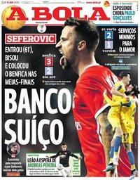 capa Jornal A Bola de 15 janeiro 2020