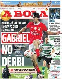 capa Jornal A Bola de 16 janeiro 2020
