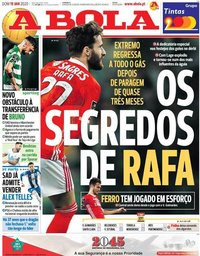 capa Jornal A Bola de 19 janeiro 2020