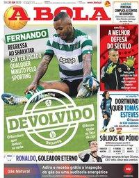 capa Jornal A Bola de 20 janeiro 2020