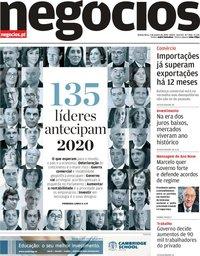 capa Jornal de Negócios de 2 janeiro 2020