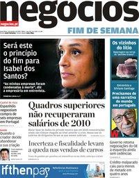 capa Jornal de Negócios de 3 janeiro 2020