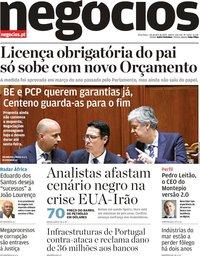 capa Jornal de Negócios de 7 janeiro 2020