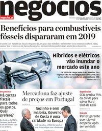 capa Jornal de Negócios de 8 janeiro 2020